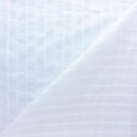 Striped cotton voile fabric - white Cécilia x 10cm