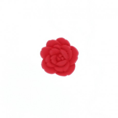 Bouton Polyester Rose Sauvage 15 mm - Rouge