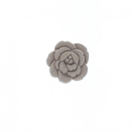 Bouton Polyester Rose Sauvage 15 mm - Taupe
