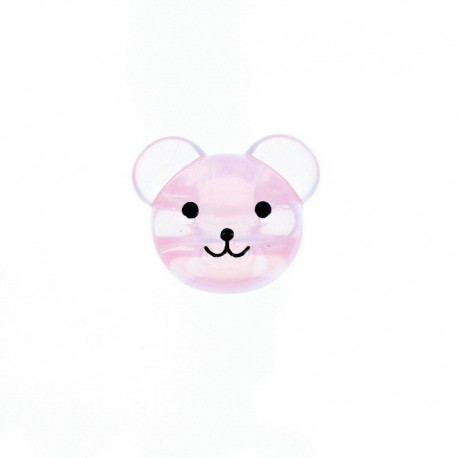 22 mm Polyester Button - Pink Baby Bear