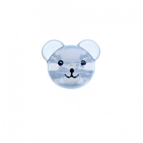 22 mm Polyester Button - Grey Baby Bear