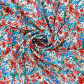 viscose Fabric - Blue wildflower x 10cm