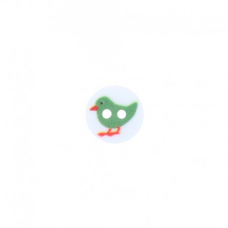 12 mm Polyester Button - Green Mini Birdy