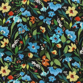Tissu viscose Jardin Sauvage - noir x 10cm