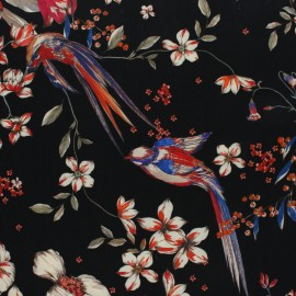 viscose Fabric - Black Jardin des plantes x 10cm