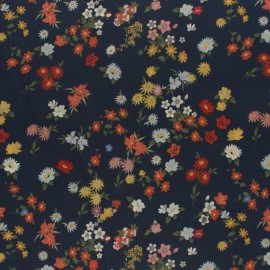 Crepe fabric - Ink blue Flowerfield x 10cm