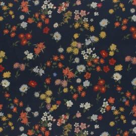 Tissu crêpe Fleurs des champs - encre x 10cm
