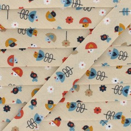 Birdie Cotton Bias Binding - Beige x 1m