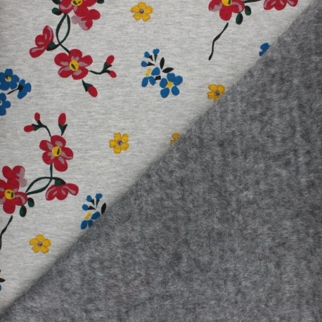 Sweatshirt fabric with minkee - Grey Jardin japonais x 10cm