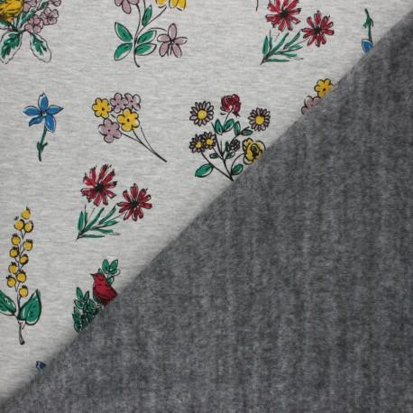 Sweatshirt fabric with minkee - Grey Ode au printemps x 10cm