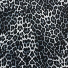Tissu jersey velours ras Léopard - gris x10cm