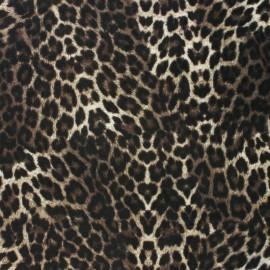 Velvet jersey fabric - grey leopard x 10cm