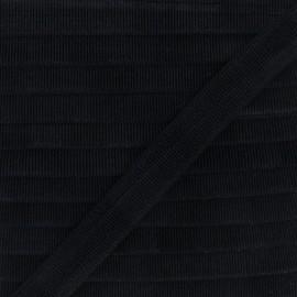 Biais Piqué De Coton - Noir x 1m