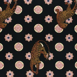 Tissu crêpe élasthanne cheetah - noir x 10cm