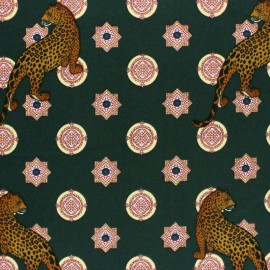 Elastane Crepe fabric - Dark green Cheetah x 10cm