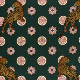 Tissu crêpe élasthanne cheetah - vert foncé x 10cm