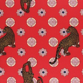 Tissu crêpe élasthanne cheetah - rouge x 10cm