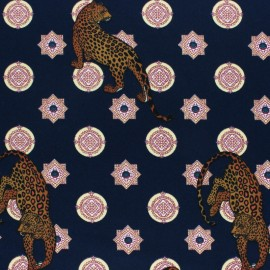 Elastane Crepe fabric - navy blue Cheetah x 10cm