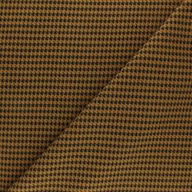 Tissu crêpe élasthanne Pied de poule - moutarde x 10cm