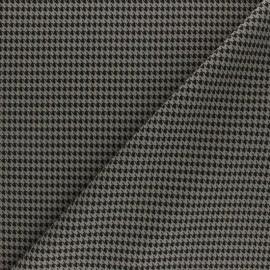 Tissu crêpe élasthanne Pied de poule - taupe x 10cm
