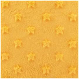 Tissu velours minkee doux relief à étoiles jaune x 10cm
