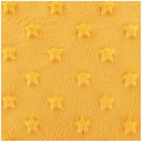 Soft relief minkee velvet Stars fabric - yellow x 10cm