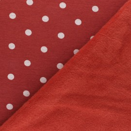 Sweatshirt fabric with minkee - red Louise x 10cm
