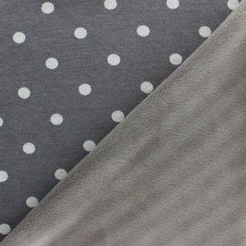 Sweatshirt fabric with minkee - Dark grey Louise x 10cm
