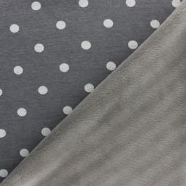 Tissu sweat envers minkee Louise - gris x 10cm