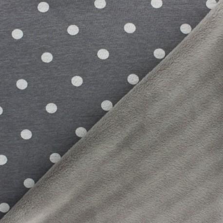 Tissu sweat envers minkee Louise - gris foncé x 10cm