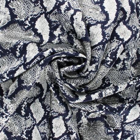 Polyester satin fabric - Navy Blue Snake Aniprim x 50cm