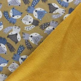 Tissu sweat envers minkee Louise - moutarde x 10cm