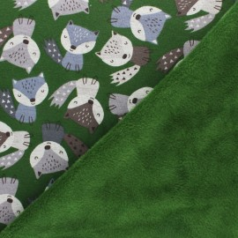 Sweatshirt fabric with minkee - green Renardeau x 10cm