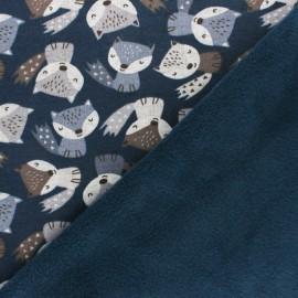 Tissu sweat envers minkee Renardeau - gris x 10cm