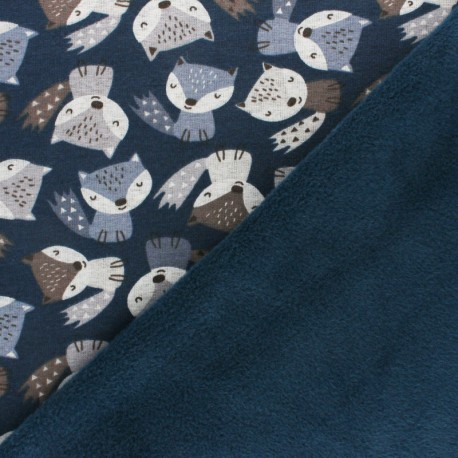 Sweatshirt fabric with minkee - grey Renardeau x 10cm