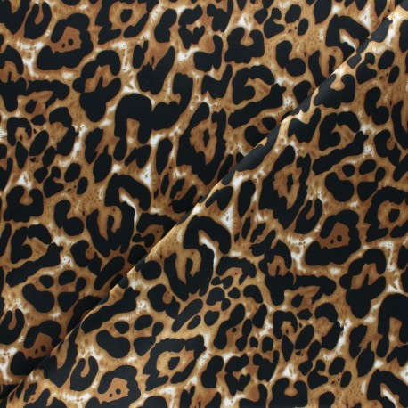 Tissu satin polyester Aniprim Jaguar - Caramel x 50cm