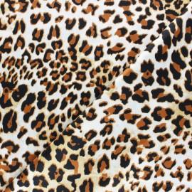 Tissu satin polyester Aniprim Léopard - Miel x 50cm