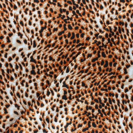 Polyester satin fabric - Orange Cheetah Aniprim x 50cm