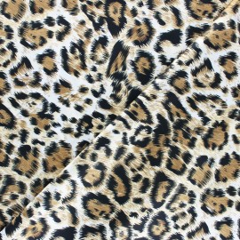 Tissu satin polyester Aniprim Panthère - Miel x 50cm