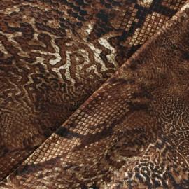 Tissu satin polyester Aniprim Python - Marron x 50cm