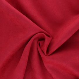 Suede elastane fabric - Ember red Lorena x 10cm