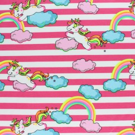 Striped Jersey fabric - Pink Neon Unicorn x 10cm