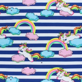 Striped Jersey fabric - Pink Neon Unicorn x 10cm