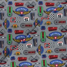 Tissu jersey Racing logo - gris x 10cm