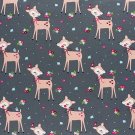 Cotton Jersey fabric - grey Iris the Hedgehog x 10cm