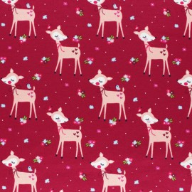 Cotton Jersey fabric - grey Lola the deer x 10cm