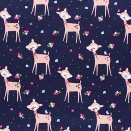 Cotton Jersey fabric - fuchsia Lola the deer x 10cm