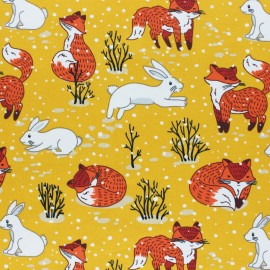 Cotton Jersey fabric - yellow Winter Forest x 10cm
