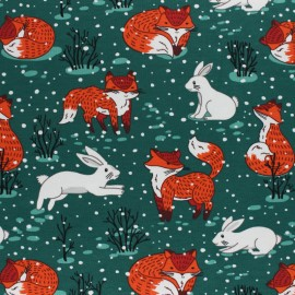 Cotton Jersey fabric - navy blue Winter Forest x 10cm
