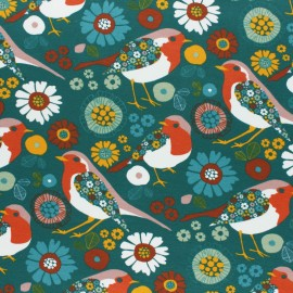 French terry fabric - green Folky Bird x 10cm